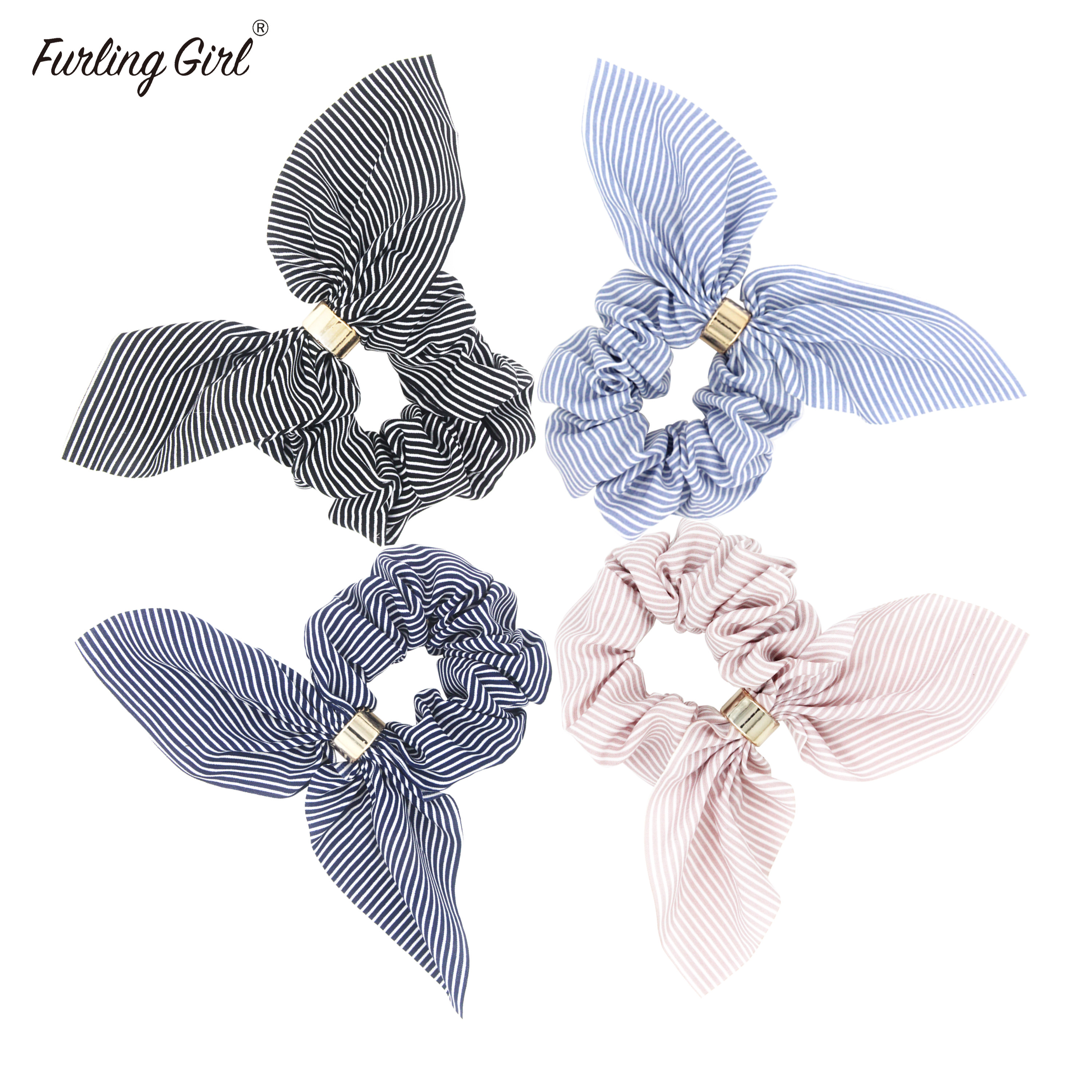 Furling Gilr 1 PC Rabbit Ears Elastic Hairbands Striped Hair Scrunchies With Gold Plating Plastic Buckle Hair Tie Bun Holder
