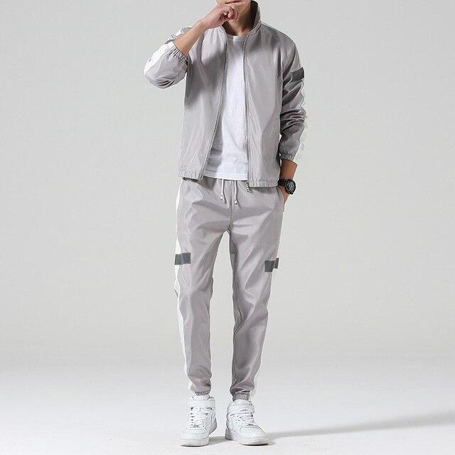 Men's Set Fashion Sports Men Sweatsuit Hip Hop Fitness Clothing Two Pieces Sweatshirt Sweatpant Male Tracksuit Black White Grey 1