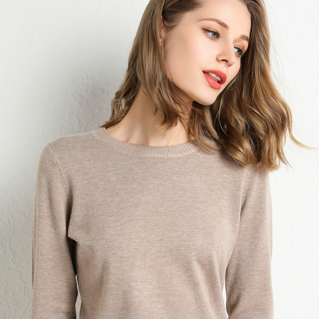 New Women Sweater Autumn Winter Clothes Solid Round Neck Sweater Jumper Long-sleeved Knitted Pullovers Shirt Female Tops 4