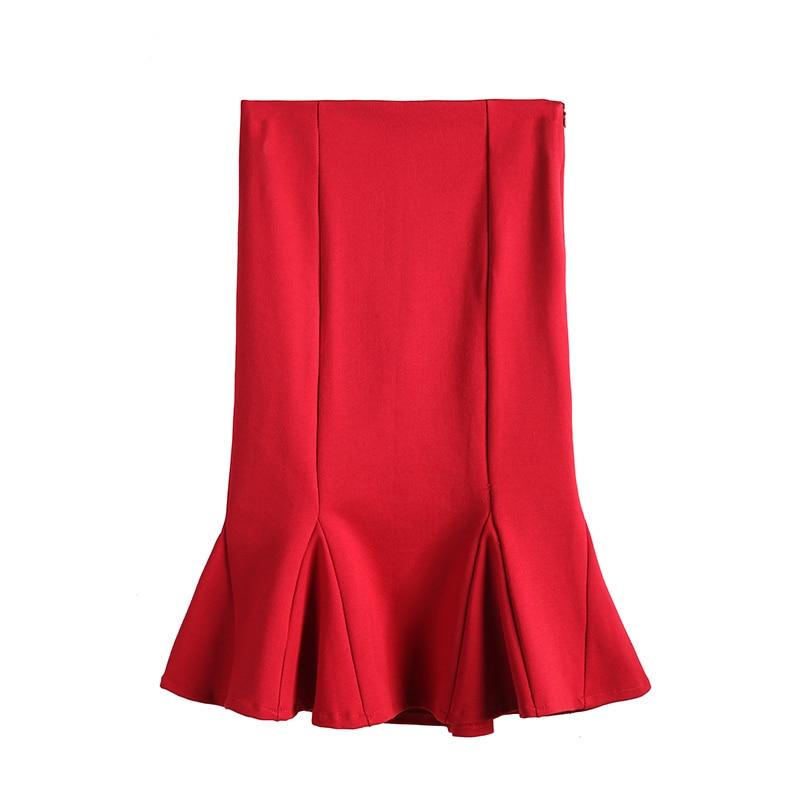 Высокая талия юбка в виде хвоста Русалки Юбки в длинном Раффлед тонкий большие размеры сумка в стиле «Хип тянущиеся леггинсы-юбка для мален...