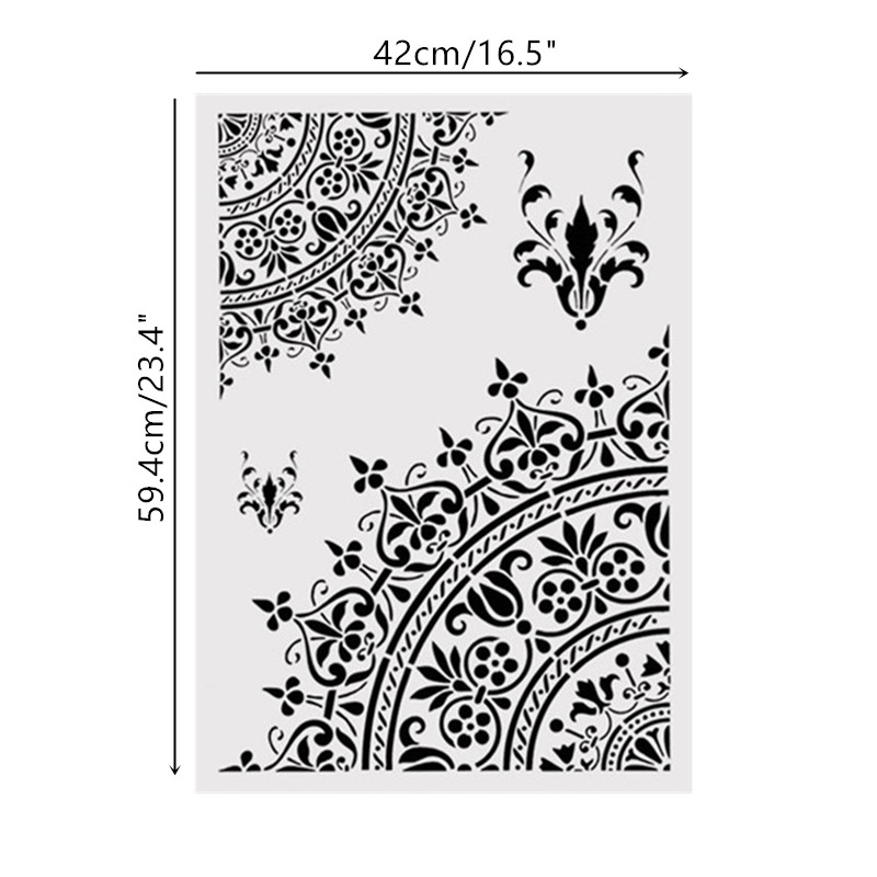 A2 Size DIY Home Decorative Mandala Stencil Template For Wall Painting Decor DIY Painting Furniture Fabric Decorative