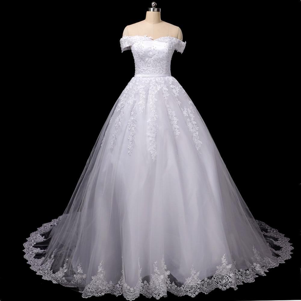 Lace Gowns Wedding Dress 2020 Cheap Vestido De Noiva Robe Princess Mariage Plus Size Long Train Tulle Bridal Wedding Gown