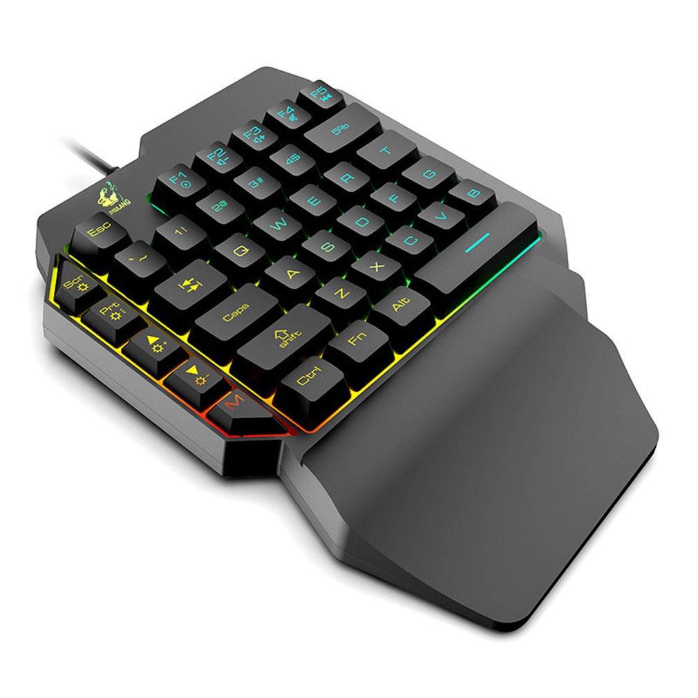 Waterproof Left Hand Colorful One-Handed Keyboard God Throne Left Hand Mechanical Feel Game Keyboard