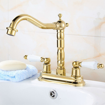 "Gold Color Brass 4"" Centerset Bathroom Two Holes Basin Faucet Sink Mixer Tap Swivel Spout Double Ceramic Levers mnf431"