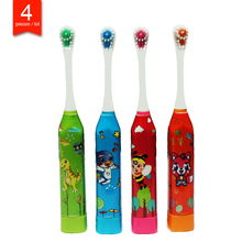 4 pieces / pack childrens electric toothbrush cute fun sonic electric brushing cartoon pattern kids toothbrush  Soft Bristle