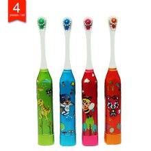 4 stuks/pak kinderen elektrische tandenborstel leuke fun sonic elektrische borstelen cartoon patroon kids tandenborstel Zachte Haren