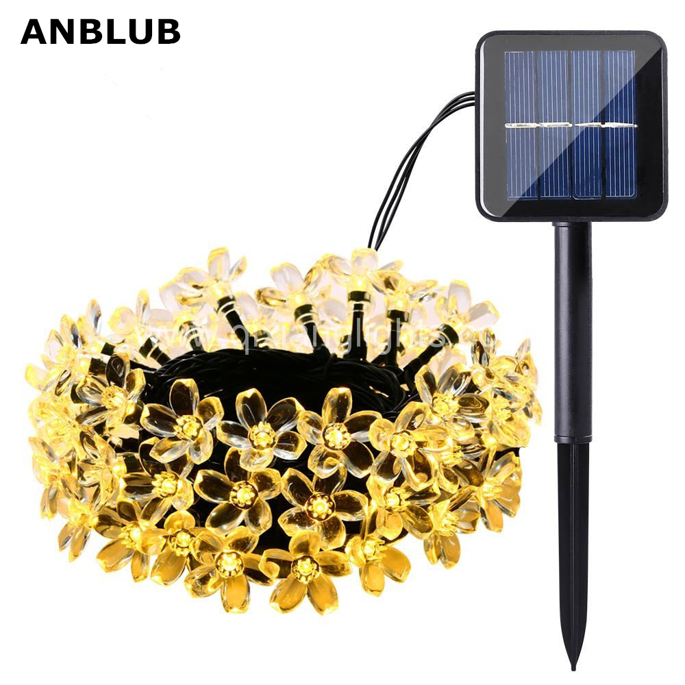 ANBLUB 7M 50led Outdoor Solar LED String Lights Flash Peach Flower Waterproof Christmas Lamp For New Year Home Garden Decoration