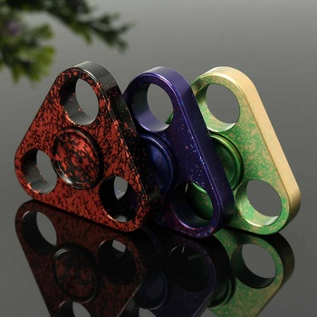 Starry Sky Colorful Metal Triangle Finger Spinner Bearing Spinner Toy Adult Toys for Children Metal Finger Tip Gyro Relief Toys
