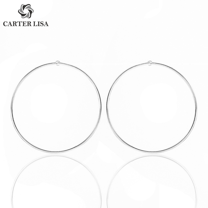 CARTER LISA Simple Gold Stainless Steel Circle Wire Hoops Stud Earrings For Women  DIY Earring Jearrings Jewelry HSE0197000