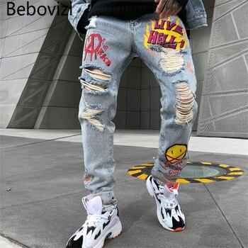Bebovizi High Quality Casual Streetwear Jeans Men Punk Cool Graffiti Denim Pants Broken Hole Trousers Cute Letter Print Jeans