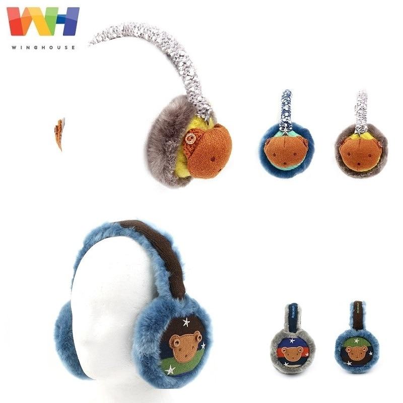 South Korea Winghouse Children Earmuffs Cartoon Bear Ear Bags Boy Winter Warm Windproof Earplugs Winter Headphones Kid Ear Cover
