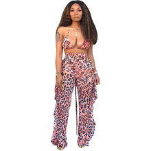 Sexy Short Two Piece Set Leopard Crop Tops High Wiast Long Pants Bodycon Matching Sets Summer Clothes for Women 2 Piece Outfits(China)