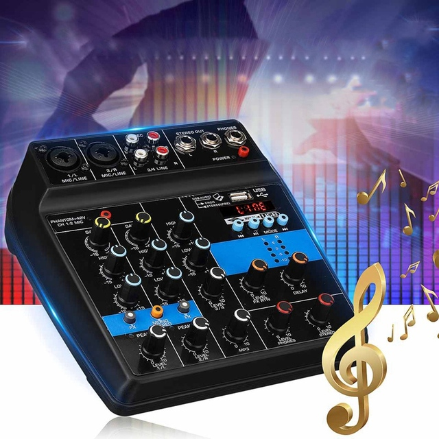 แบบพกพา 4 ช่อง USB มินิเสียงคอนโซลผสมเสียงเครื่องขยายเสียง Bluetooth 48V Phantom Power สำหรับคาราโอเกะ KTV Match ส่วน U