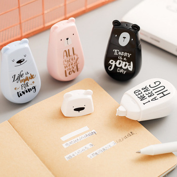 Cinta correctora blanca de color negro con un oso encantador, Corrector, papelería, premio de estudiante, suministros para escuela y oficina