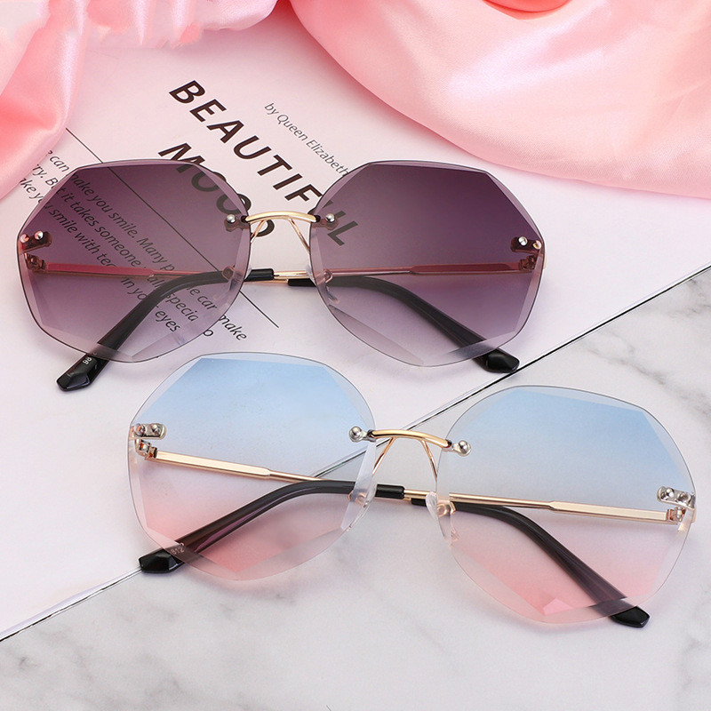 Fashion Sunglasses Women Brand Designer Rimless Gradient Sun Glasses Shades Cutting Lens Ladies Frameless Metal Eyeglasses UV400