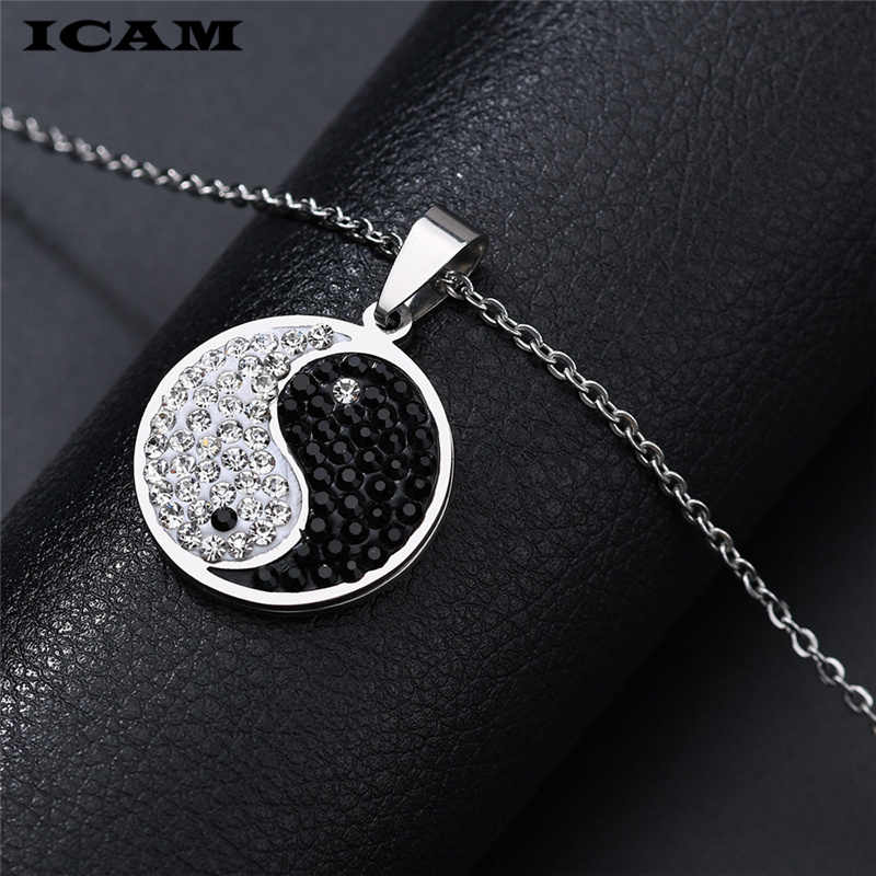 ICAM Инь-Ян подарок модный мужской лучший друг женщины унисекс пары ювелирных изделий Серебро Багуа Тай Чи ожерелье BFF кулон