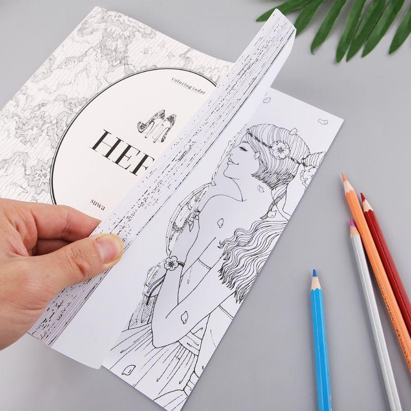 Hers Fashion Design Children Kids Coloring Book Girls Modern Style Drawing Books Graffiti Painting AXYF