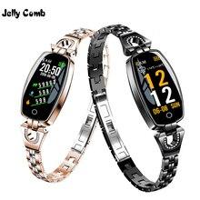 젤리 빗 패션 여성 스마트 시계 0.96 인치 심장 박동 모니터 스마트 팔찌 수면 모니터 여자를위한 smartwatch 선물