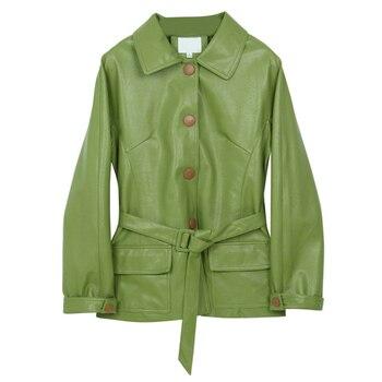 Ailegogo New Women Loose Pu Faux Soft Leather Green Jacket Turndown Collar Biker Overcoat Single Breasted Pocket Coat With Belt 4