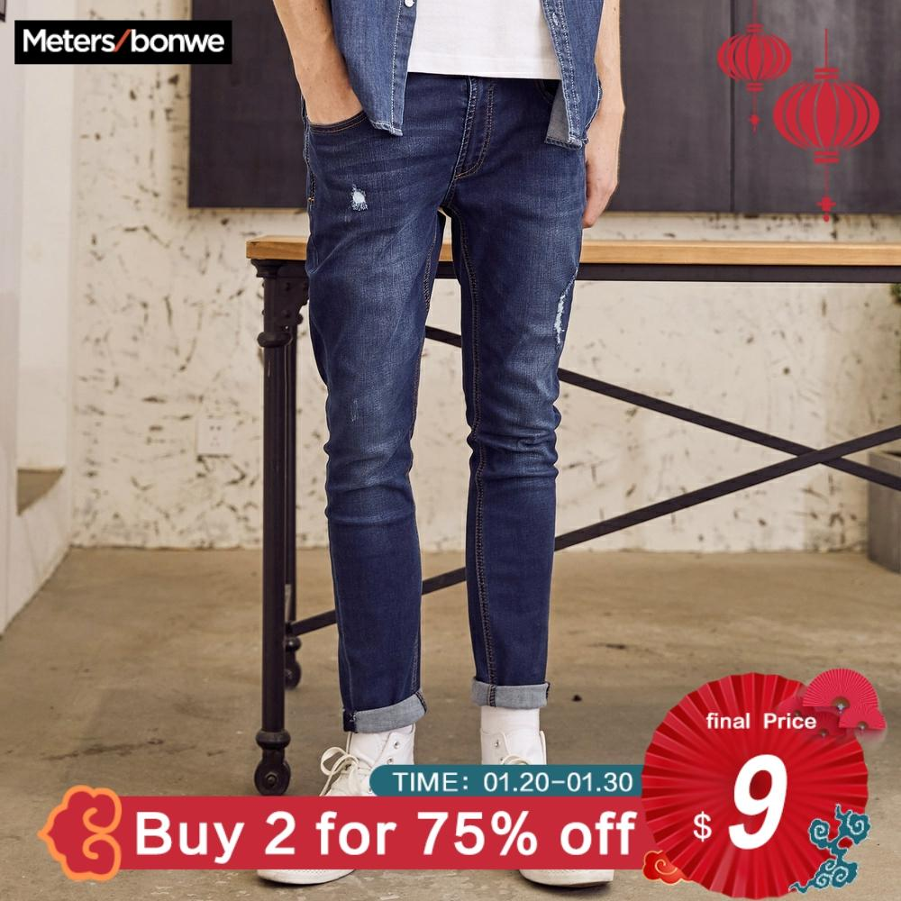 Metersbonwe Jeans For Mens Slim Fit Pants Classic Hole Jeans Male Designer Trousers Casual Skinny Straight Elasticity Pants