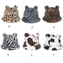 Winter Thicken Fuzzy Plush Bucket Hat Women Cute Bear Ears Leopard Zebra-Stripes Cow Printed Hat Outdoor Warm Fisherman Cap