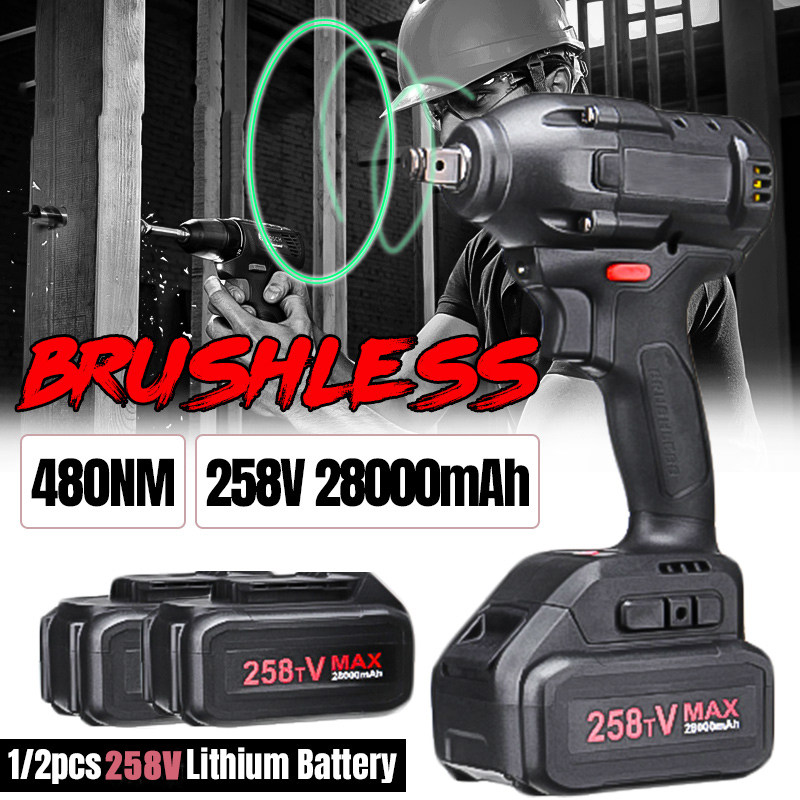 Brushless Cordless Electric Wrench Impact Driver Power Tool 258V 28000mAh 480Nm Rechargeable Lithium Battery Household DIY Drill|Electric Wrenches| |  - title=