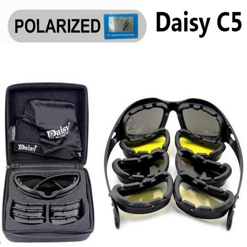 Sport Polarized Sunglasses Daisy C5 X7 Tactical Military Glasses Men Hunting Shooting Airsoft Goggles 4 Lenses Hiking Glasses