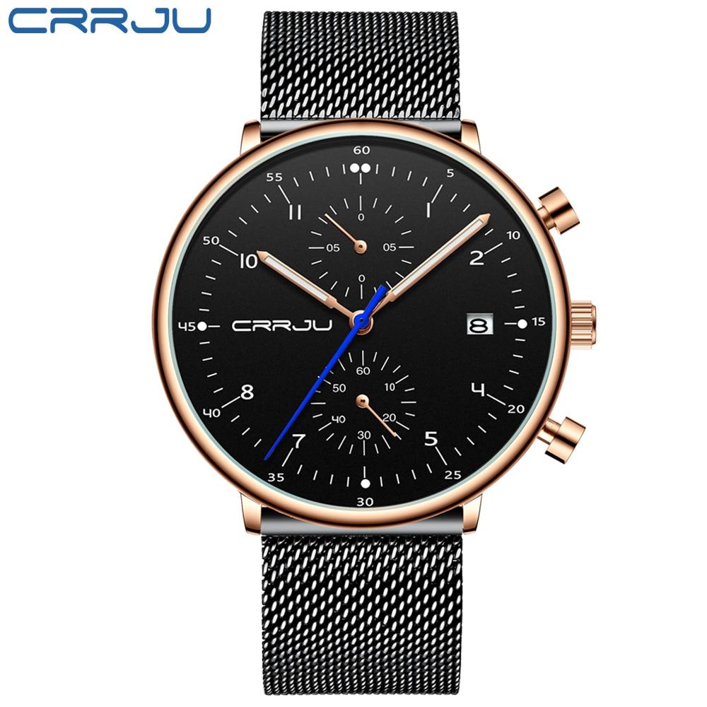 Image 2 - Mens Watch 2019 CRRJU Luxury Men Stainless Steel WristWatch Mens Military Full Steel Date Quartz watches relogio masculinoQuartz Watches   -