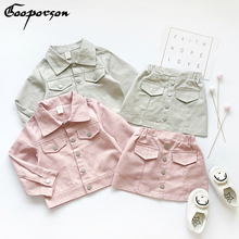 Ensemble de vêtements pour petites filles, veste solide à manches longues, avec jupe crayon, tendance douce, tenue dautomne pour enfants