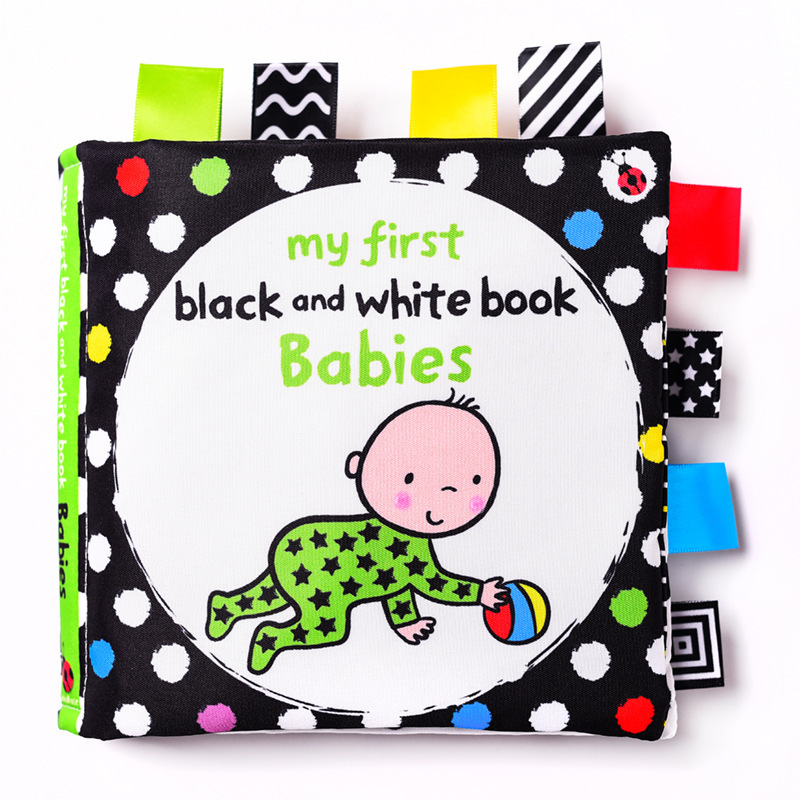LakaRose Baby Black and White Label Cloth Book Newborn Infant Early Education Books Cloth Quiet Books 4