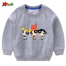 Baby Sweatshirt Toddler Girl Sweatshirt White Sweatshirt Children Cute The Powerpuff Girls Fashion Kids Hoodie Cute Long Sleeves black embroidered hoodie long sleeves mini sweatshirt