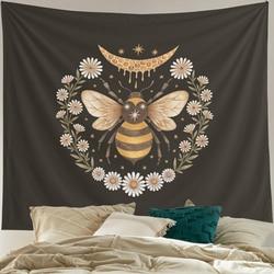 Настенный гобелен с пчелами и цветами, подвесные настенные украшения с маргаритками, маленькие черные гобелены для спальни, Drom, комнаты