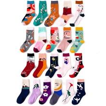 цена на Art Harajuku Socks Funny Cute Women's Funny Flowers Europe and America Sketch Fun Cotton Socks