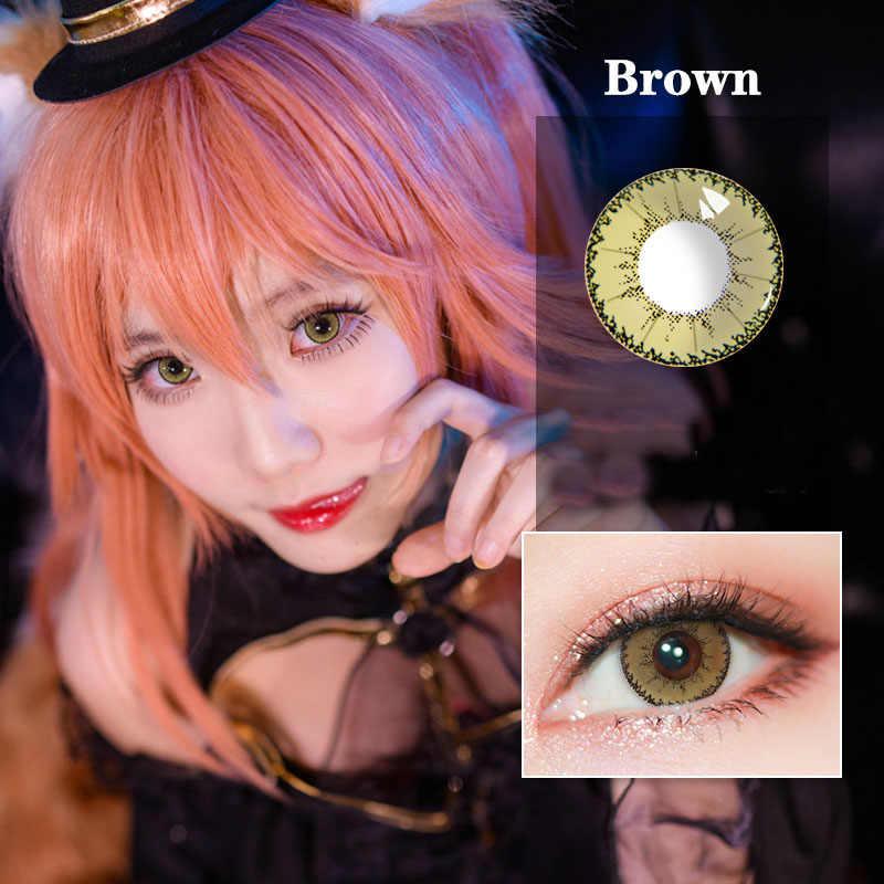 Taoqihou 2 sztuk/para z mocą stopień mały diabeł serii kolorowe Cosplay kosmetyczne Halloween szalone kolorowe soczewki kontaktowe