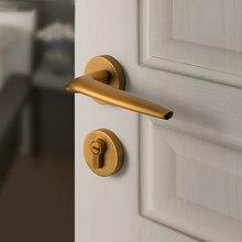 Nordic fechadura da porta interior mudo bloqueio do quarto fechadura de bronze escovado split bloqueio simples conjunto fechadura da porta alça fechadura da porta universal