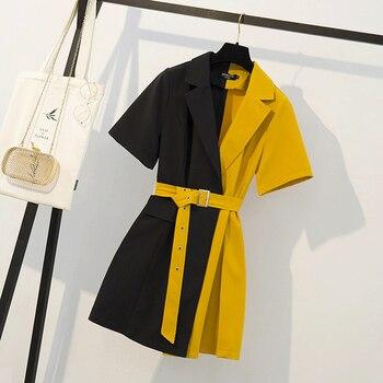 Summer Women's Dress 2021 Patchwork Casual Shirt Mini Party Black Korean Fashion Plus Size Women Clothing Ropa Mujer Verano 1