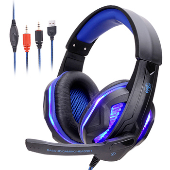 Professional LED Light Gamer Headset With Microphone Bass HD Stereo Computer Gaming Headset Headphones for PC PS4 Xbox One
