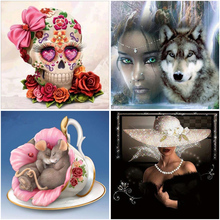 4Pieces/Lot DIY Cartoon 5D Diamond Painting Full Round Drill Wolf Female Diamond Embroidery Cross Stitch Wall Art Home Decor diy 5d diamond painting full round drill rhinestone cartoon diamond embroidery wolf female cross stitch wall art gift home decor