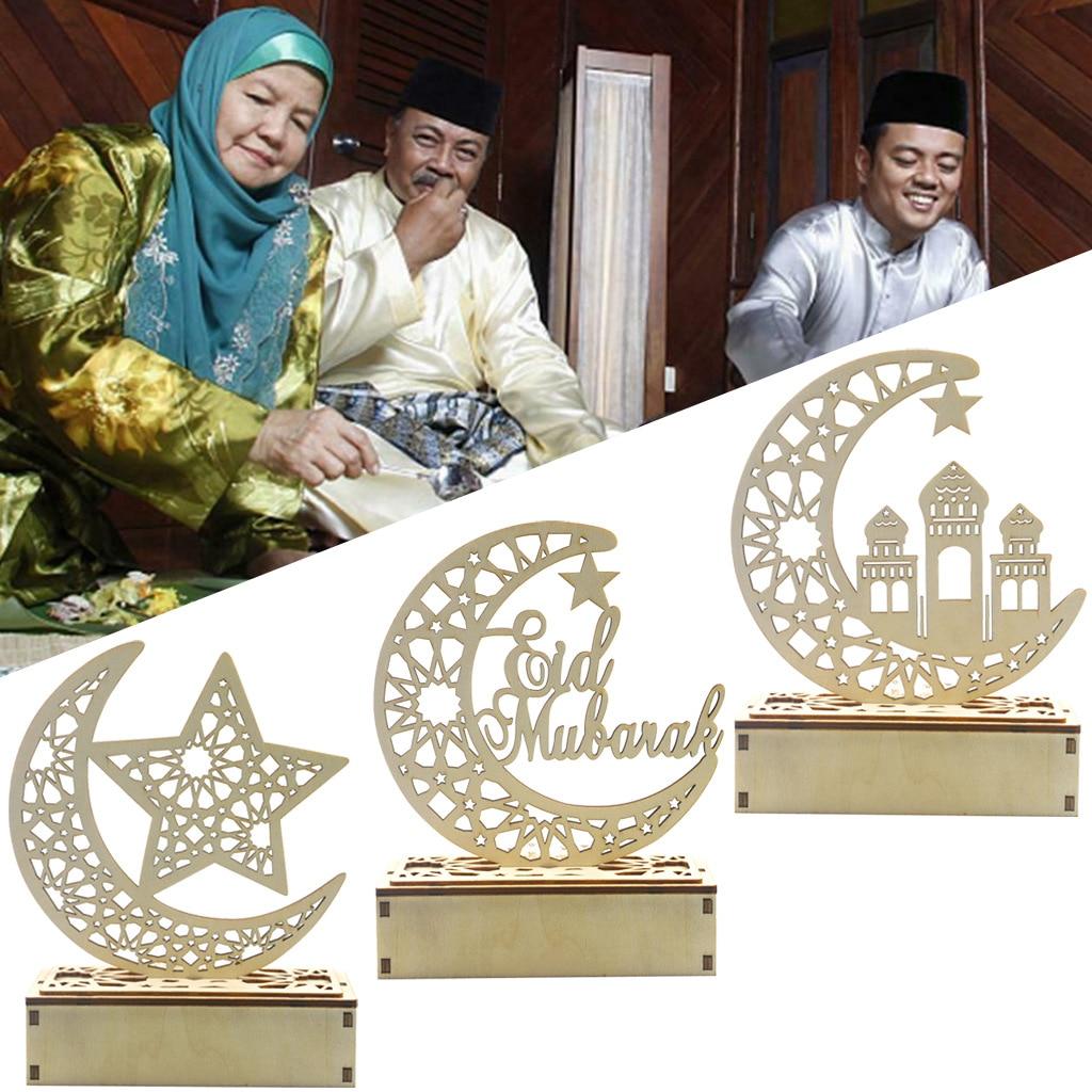 Ramadan Wooden Plaque Eid Mubarak Moon Islam Mosque Muslim Festival Home Decor