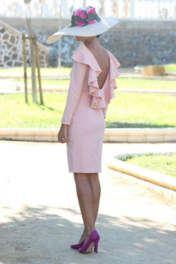 Pink Sheath Backless Mother Of The Bride Dresses 2019 Long Sleeves WeddingGownForBride Vestido De Madrinha