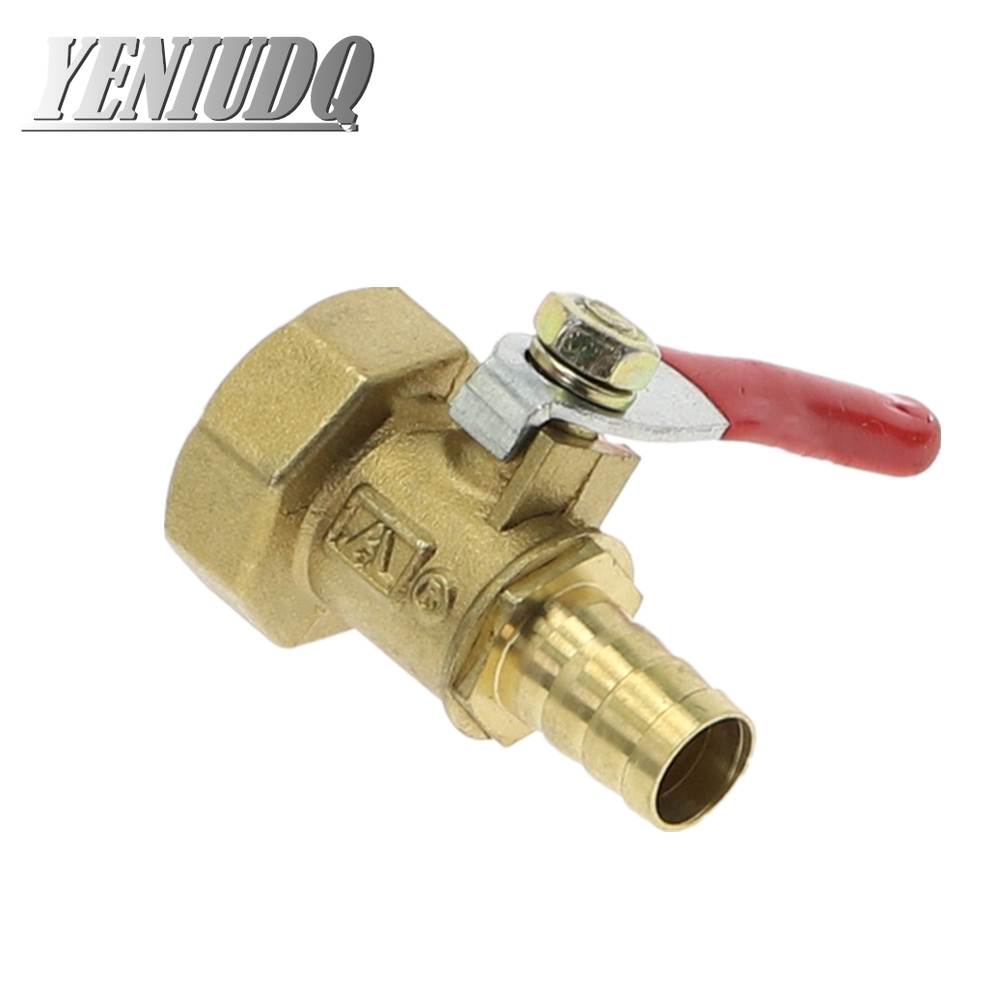 Brass Barbed Ball Valve 4-12 Hose Barb 1/8'' 1/2'' 1/4'' Female Thread Connector Joint Copper Pipe Fitting Coupler Adapter