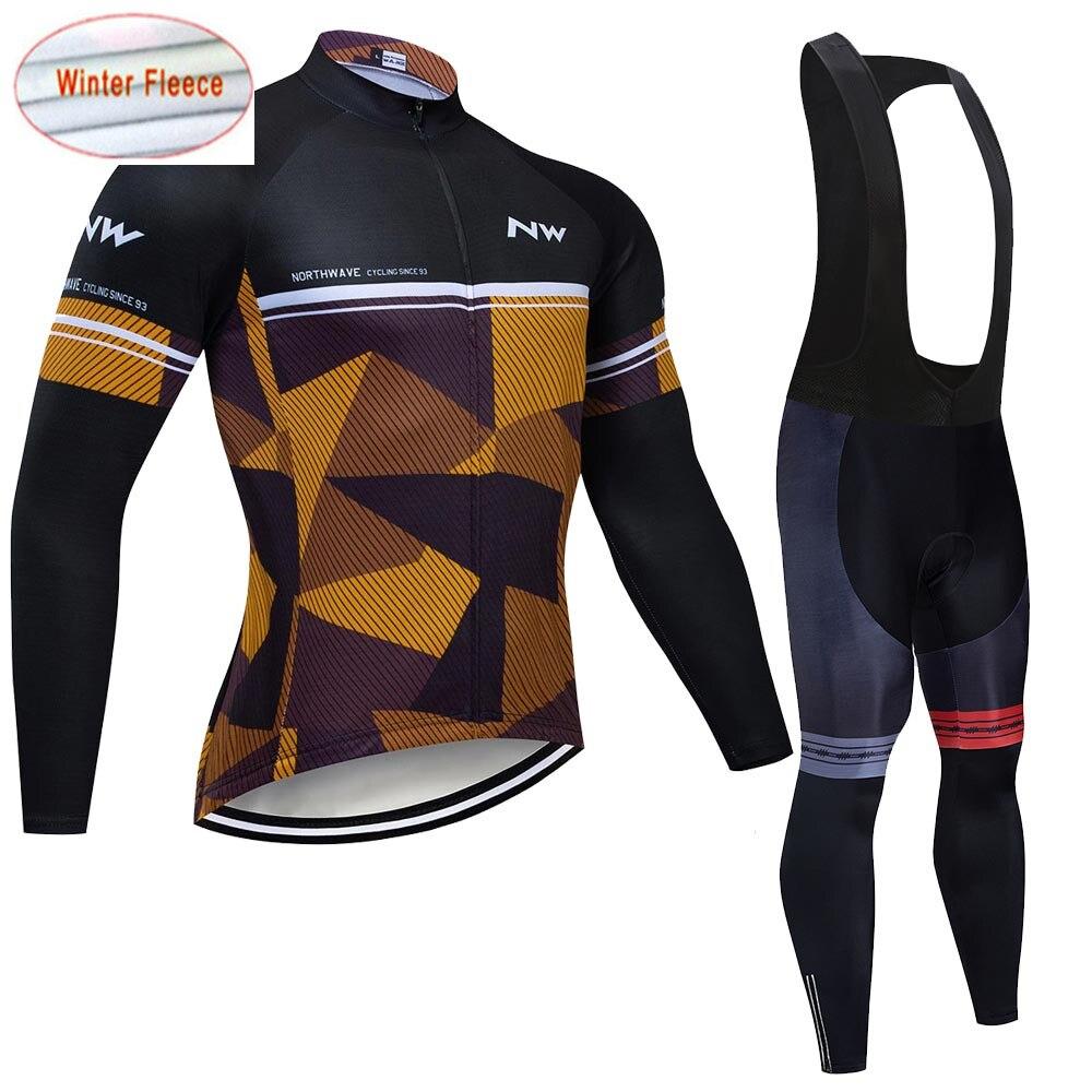 2019 New NW Men's Thermal Fleece Winter Cycling Jersey Bib Pants Tights Kits Outdoor Sporting Biking Sets Cycling Outfits