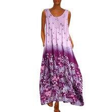 Vintage Print Women Tank Dress Summer Sleeveless O-Neck  A-Line Maxi Dresses Holiday Casual Loose Beach Plus Size Dress