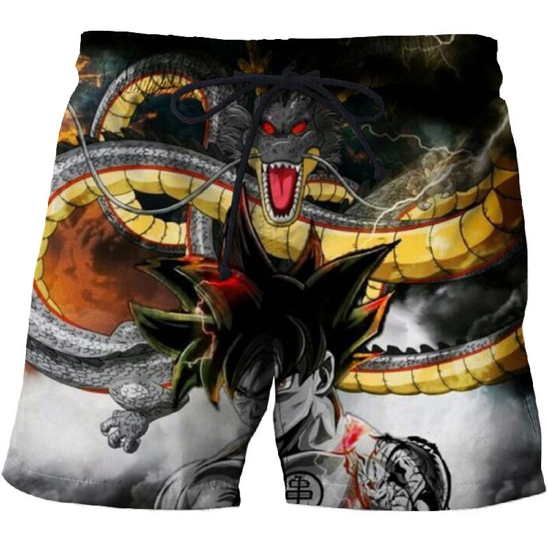 Men's Fun Shorts Seaside Beach Shorts Dragon Ball 3D Printing Men's Quick-drying Swim Trunks Comfortable Fitness Black Shorts