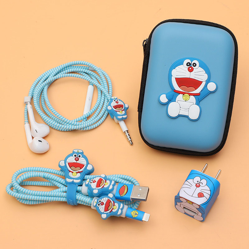 New Earphone Bags Cartoon USB Cable Earphone Protector Set With Cable Winder Stickers Spiral Cord Protector For iphone 5 6 7 8