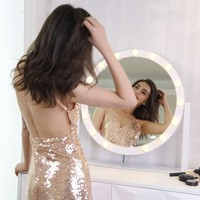 Rotate Hollywood LED Elliptical Makeup Mirror Dresser Mirror Touch with Frosted LED Bulbs Dimming Mirror Light