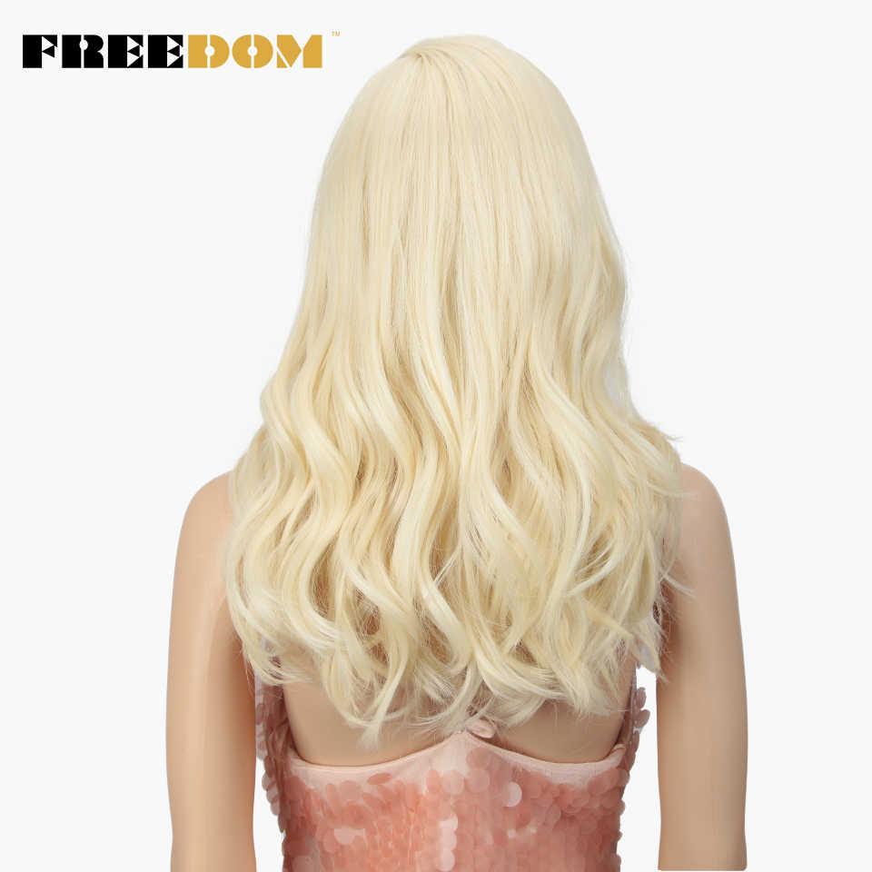 Peluca con malla frontal sintética FREEDOM, pelucas con cuerpo ondulado 20 pulgadas, Rubio 613 asimétrico, para mujeres negras, resistente al calor, moda INS