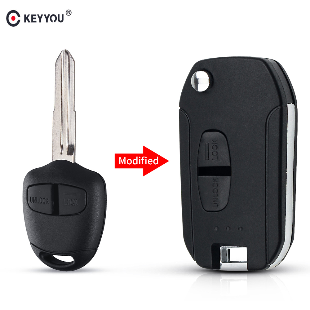 KEYYOU 2 Buttons Car Remote Key Shell Case For Mitsubishi Outlander Pajero Lancer Evolution Grandis Folding Flip Blank Key Case