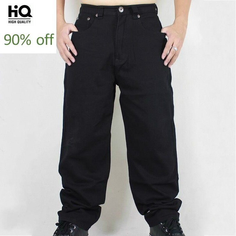 Fashion Plus Size Hip Hop Baggy Jeans Men 2020 New Loose Fit Wide Leg Denim Pants Solid Black Pocket Dance Trousers Streetwear