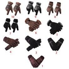 Мужские зимние осенние термоперчатки из искусственной кожи для